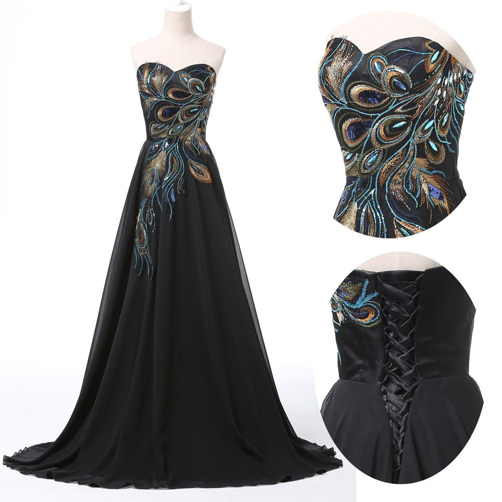Vintage Peacock Style Masquerade Ball Gown Bridesmaid Party Maxi ...