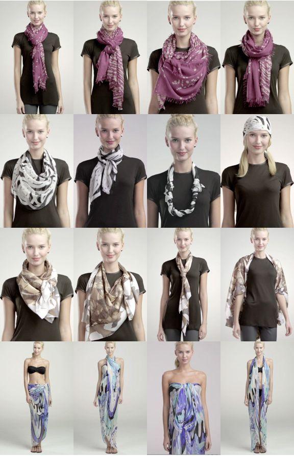 how to tie a scarf 4 scarves 16 ways schals schal binden und binden. Black Bedroom Furniture Sets. Home Design Ideas