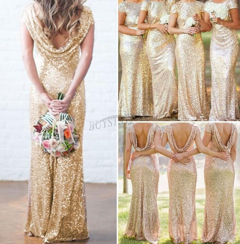 Sexy women sequin backless long dress wedding bridesmaid party