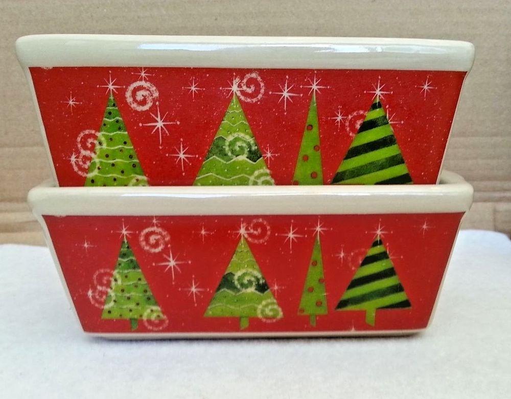 Nantucket Mini Loaf Pans Festive Christmas Trees Ceramic