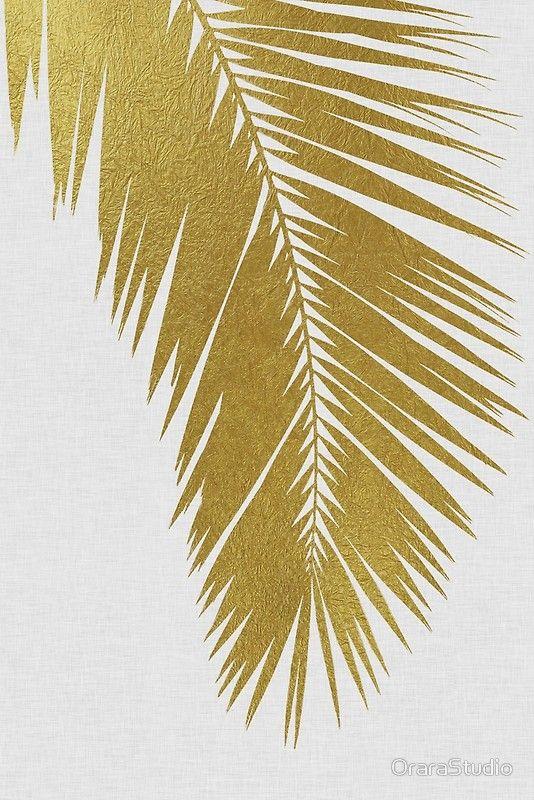 Gold Palm Leaf I By Orarastudio Golden Wallpaper Palm Leaves Palm