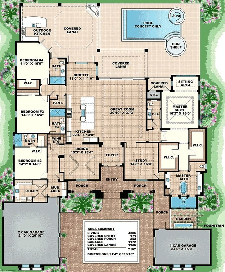 Plan 66355WE 4 Bed Luxury Home with