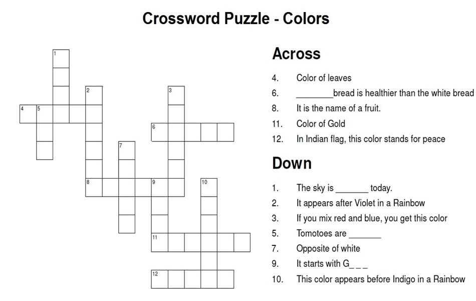 Color Crossword Puzzle For Color Wars Ingles