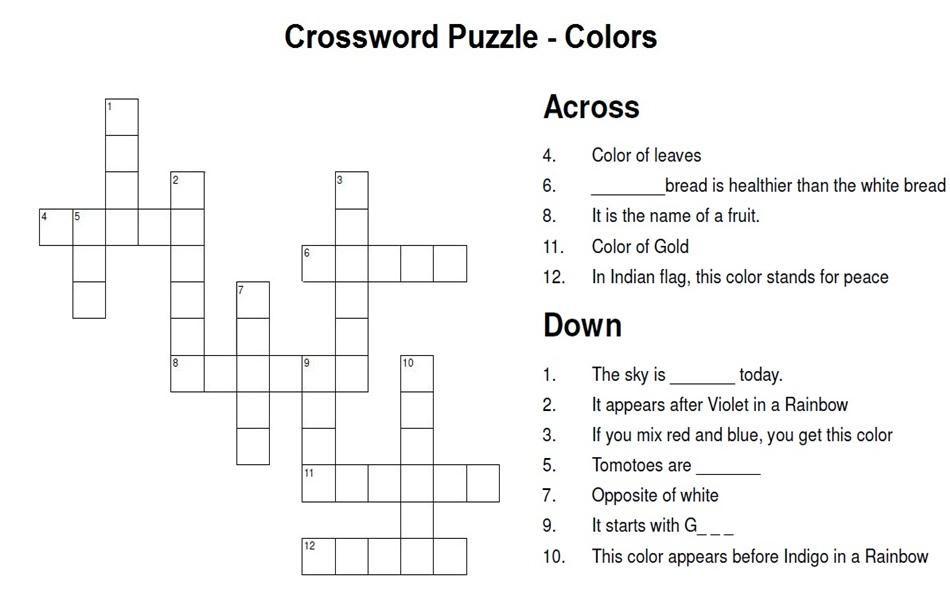Crossword Puzzle | Color Craze - 5/8 | Pinterest | Color ...