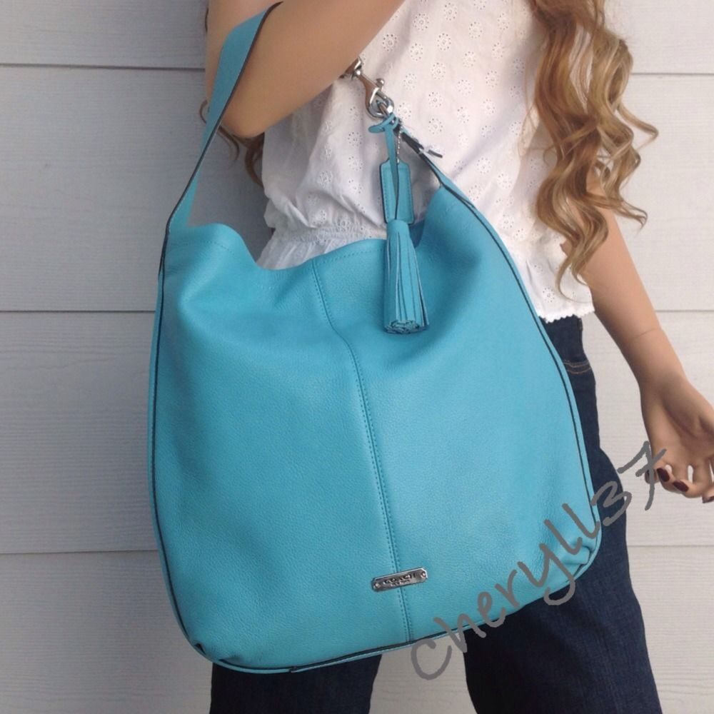 COACH Large Blue Leather Turquoise Tote Shoulder Hobo Bag Purse ...