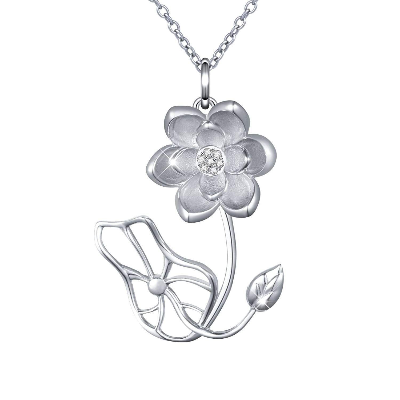 Daochong s925 sterling silver cz lotus flower leaf ring