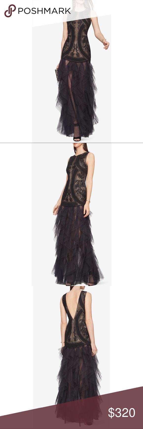 BCBG Vivica Embroidered Gown Black PROM | Bcbg dresses, Black prom ...