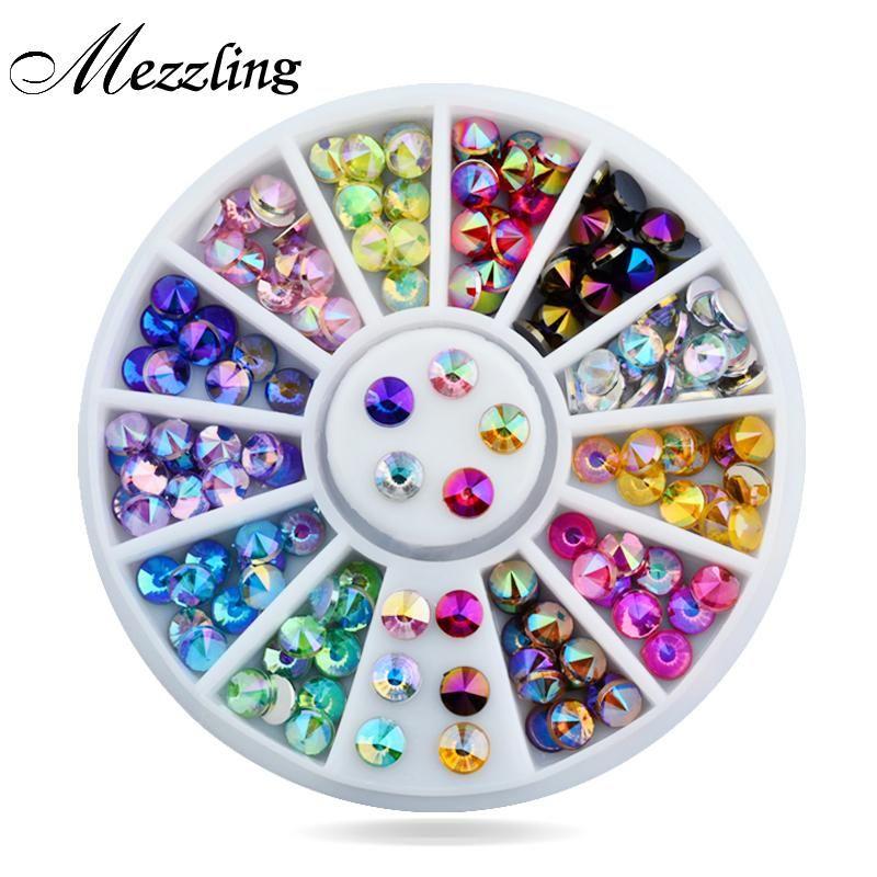 Glitter nails ·  Visit to Buy  New 96pcs set 4mm Colorful Sharp Crystal AB 3d  Nail e72ed21044af