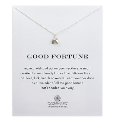 Dogeared - Good fortune, fortune cookie necklace, sterling silver