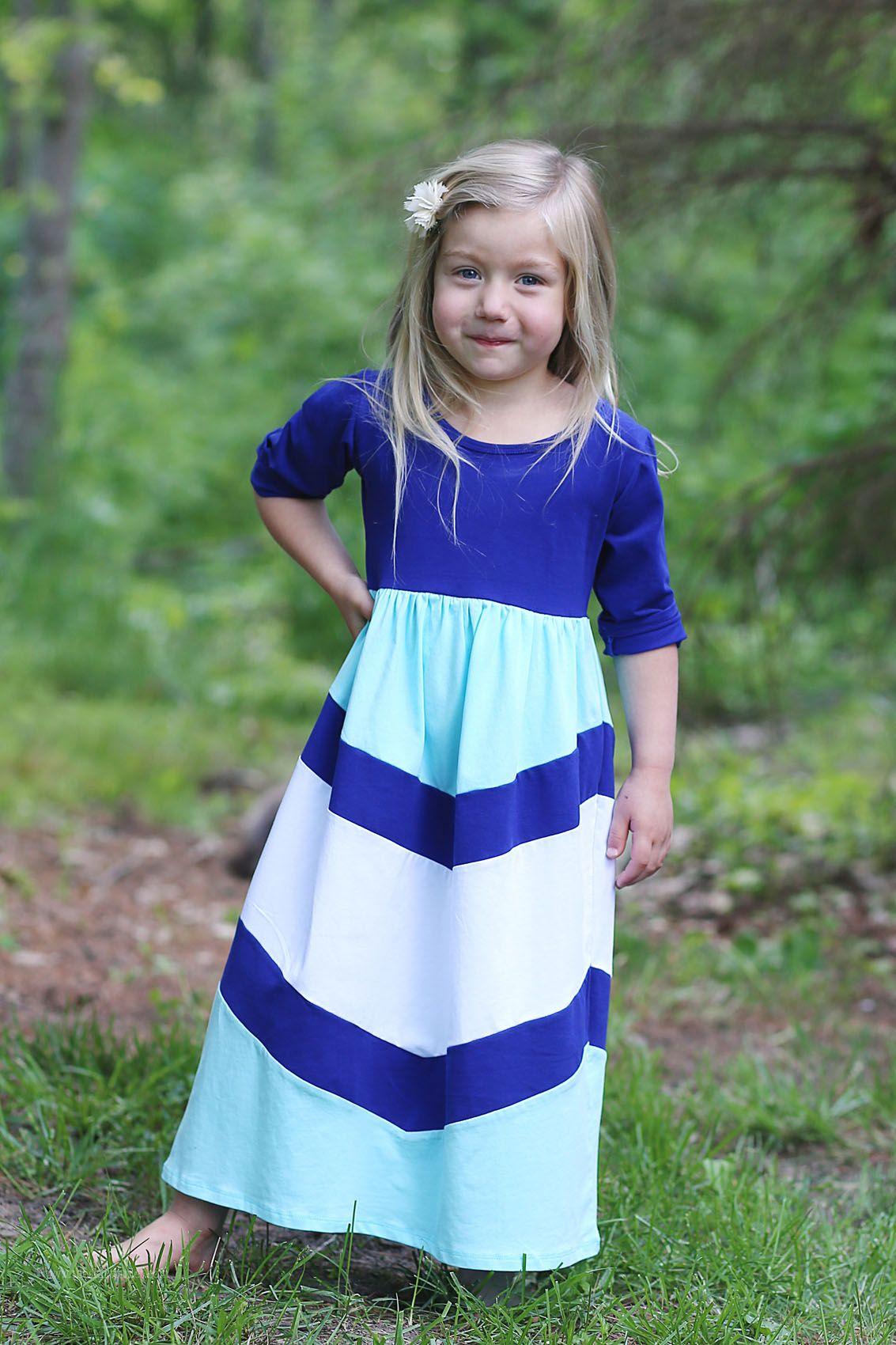 Girls Long Knit Modest Dress Navy Mint White Chevron