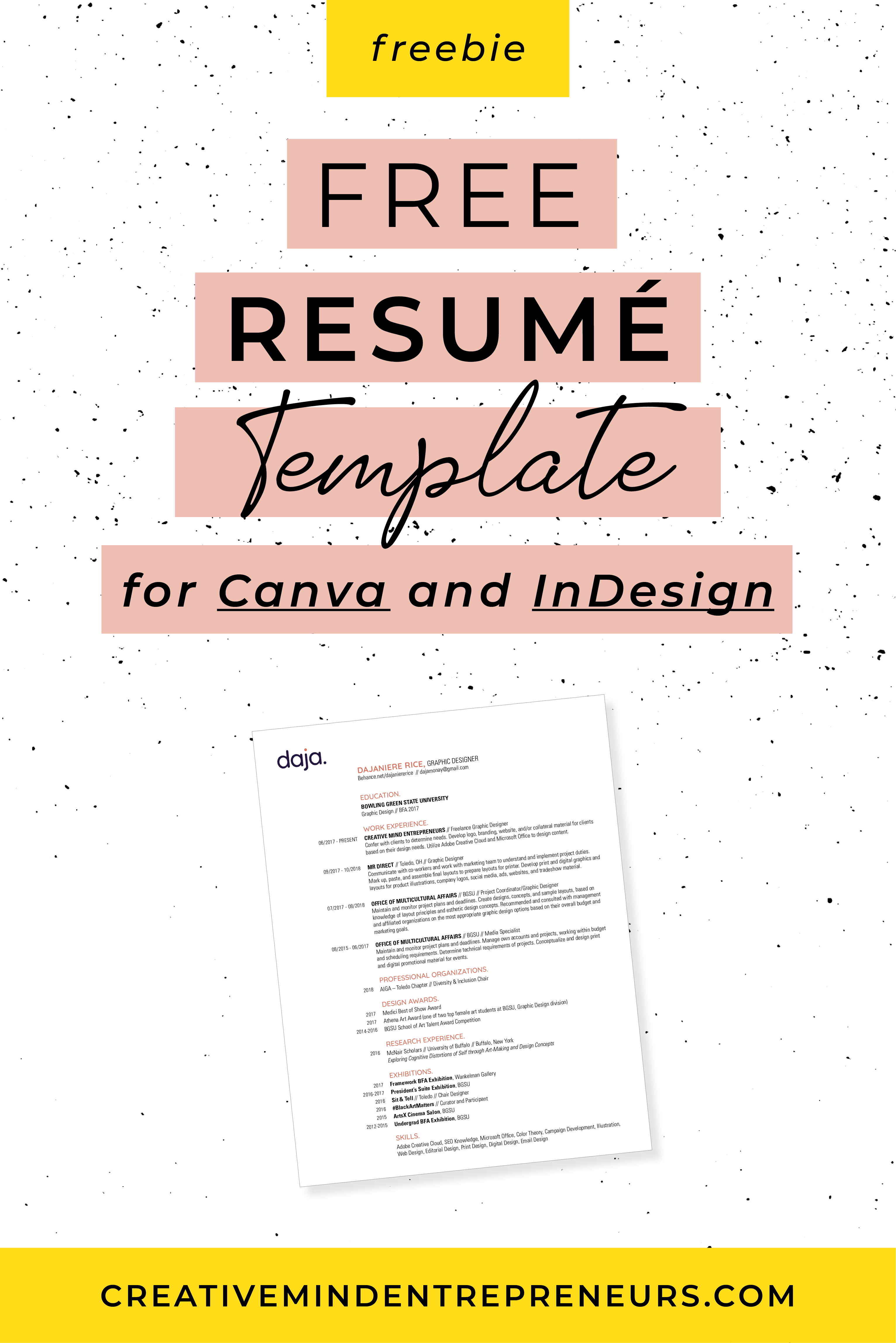 Resource Library Resume template free, Freelance tools