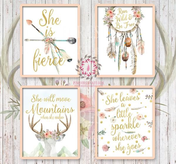 Diy Baby Nursery Floral Wall Decor: She Is Fierce She Will Move Mountains Wall Art Print Boho