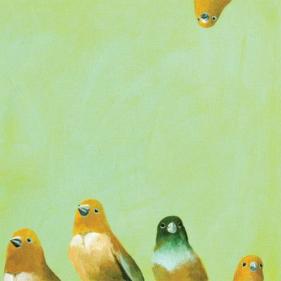 GreenBox Art Family of Feathers by Mincing Mockingbird Painting Print on Wrapped Canvas
