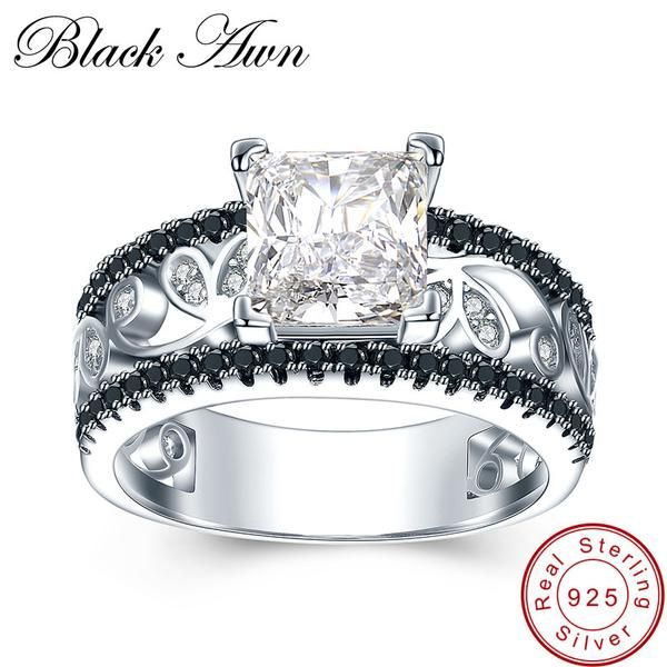 BLACK AWN 925 Sterling Silver Fine Jewelry Trendy Engagement Bague