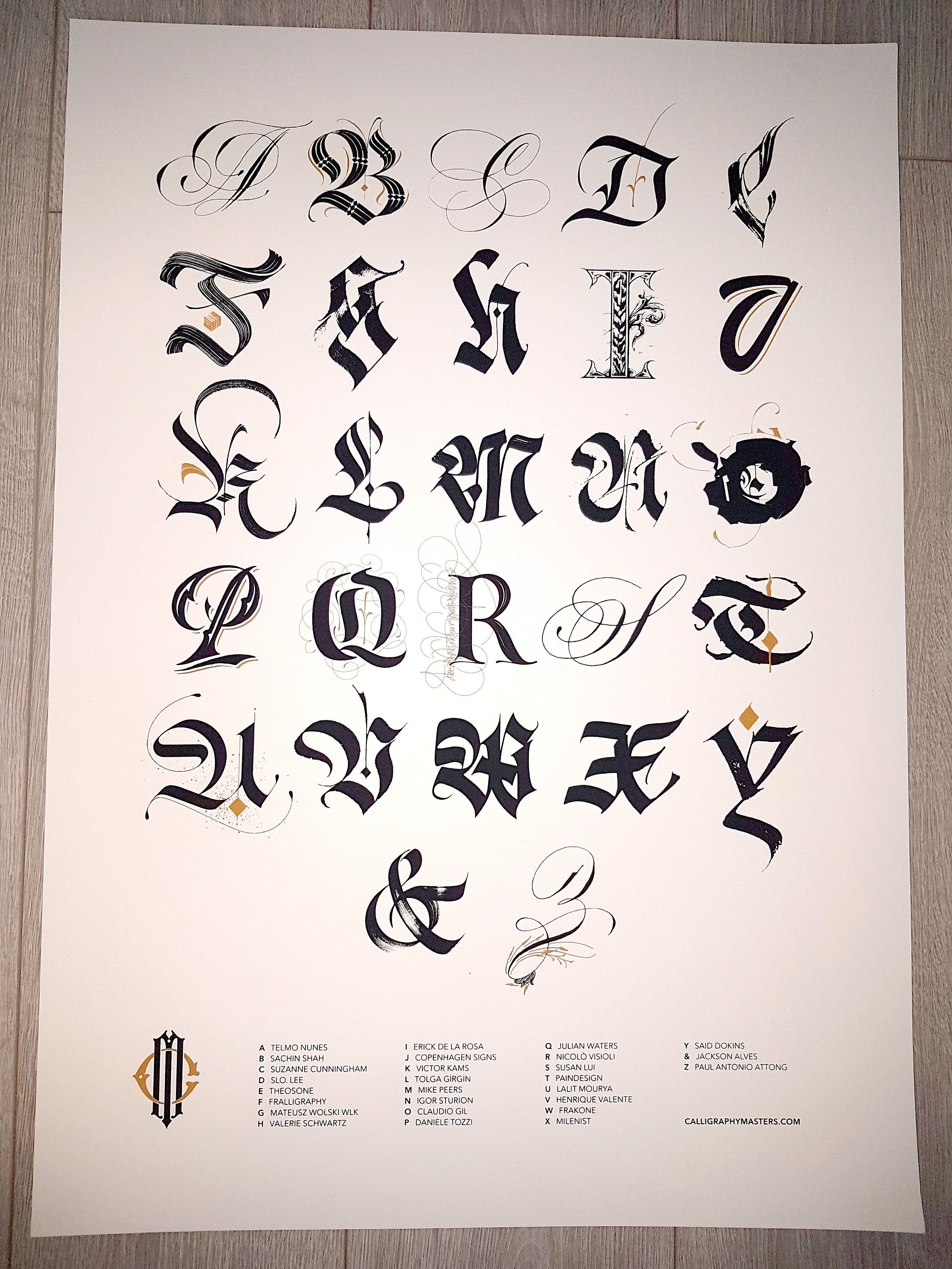 Calligraphy Masters Alphabet Poster Limited Edition Is A Collaboration Between 27 Members Of Team Alphabet A To Alphabet Poster Lettering Alphabet Calligraphy