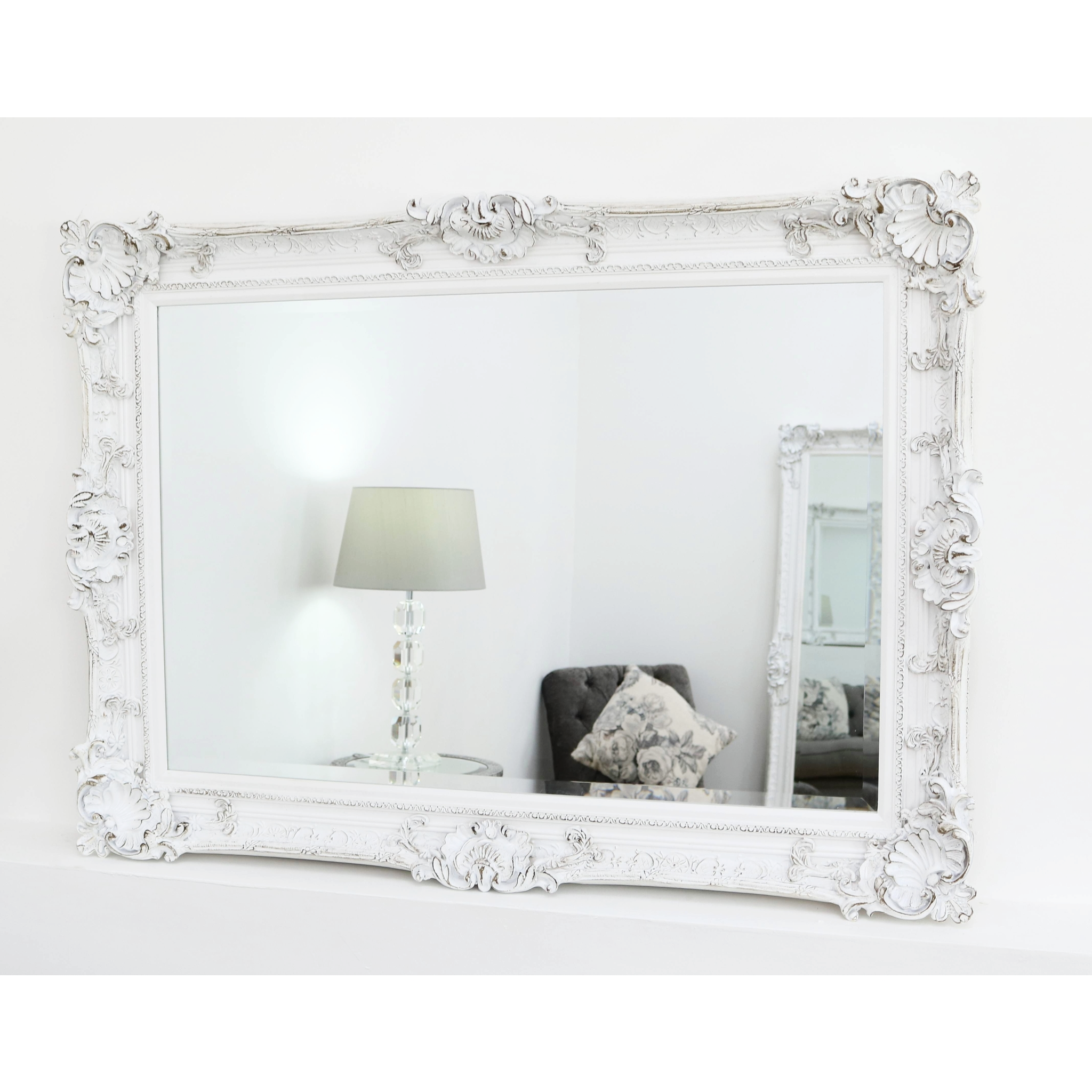 Hampshire White Ornate Rectangular Mirror 44 X 32 112cm X 81cm White Mirror Frame Ornate Mirror Antique Mirror Wall