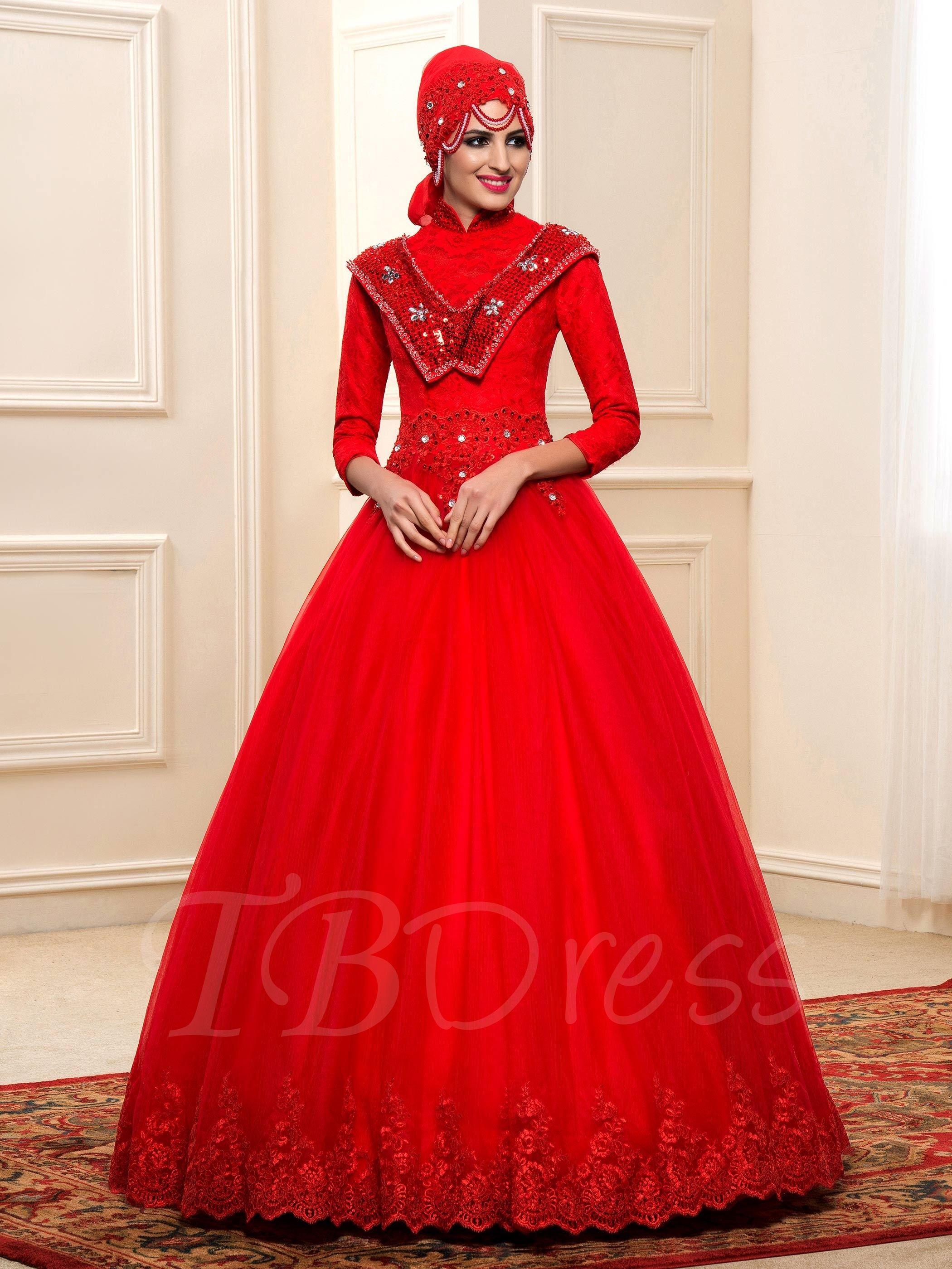 Red Beading Lace Muslim Arabic Wedding Dress with Hijab
