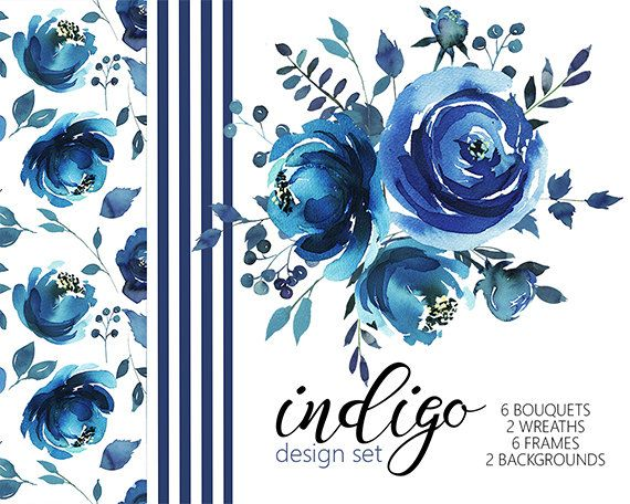 Indigo Watercolor Floral Design Collection Digital Clipart