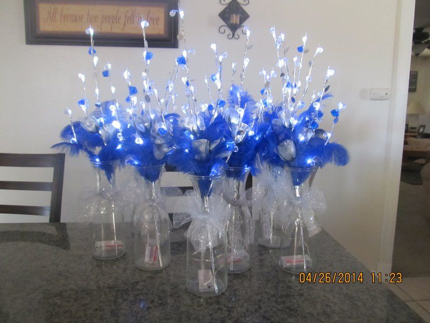 Wedding quinceanera party centerpieces silver and royal