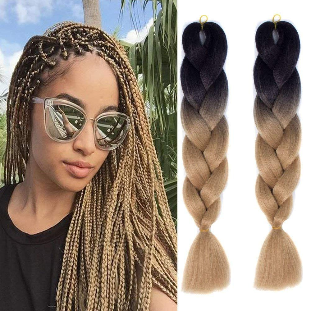 2020 Ombre Braiding Hair Extensions High Temperature Fiber Synthetic 100g Pc Crochet Braiding Box Braids 24 60cm Colorful Hair From Showjarlly Hair 8 93 Dh Braid In Hair Extensions Braided Hairstyles Hair Styles