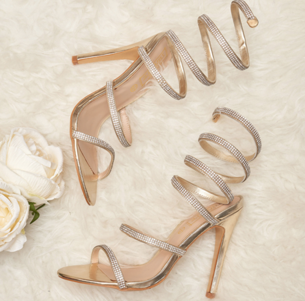 Sparkly strappy gold heels perfect for