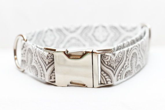 Summer Dog Collar with Gray and White Damask on Etsy, $25.00