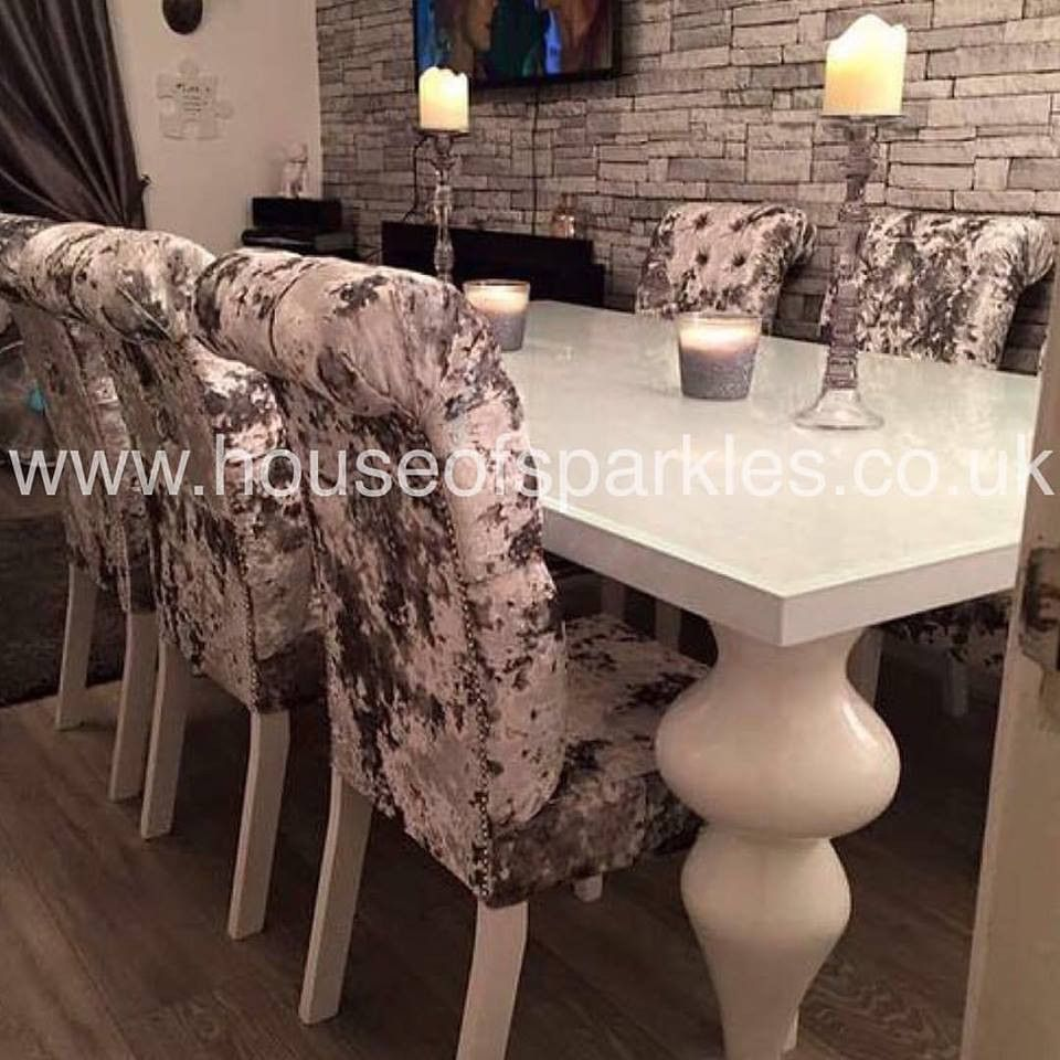 Pre Order The 8 Seater Empire Dining Set With 8 Crushed Velvet Dining Chairs Measurements White High G Dining Room Design Dining Table Chairs Dining Table