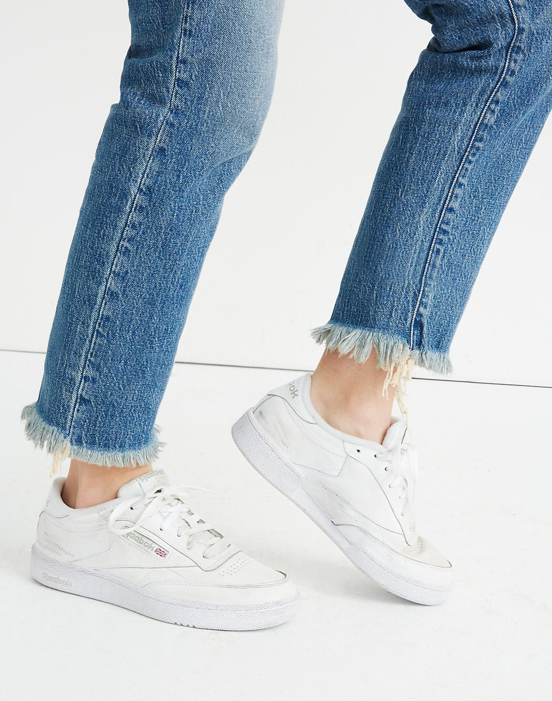 Club C 85 Shoes | White tennis shoes outfit, White tennis