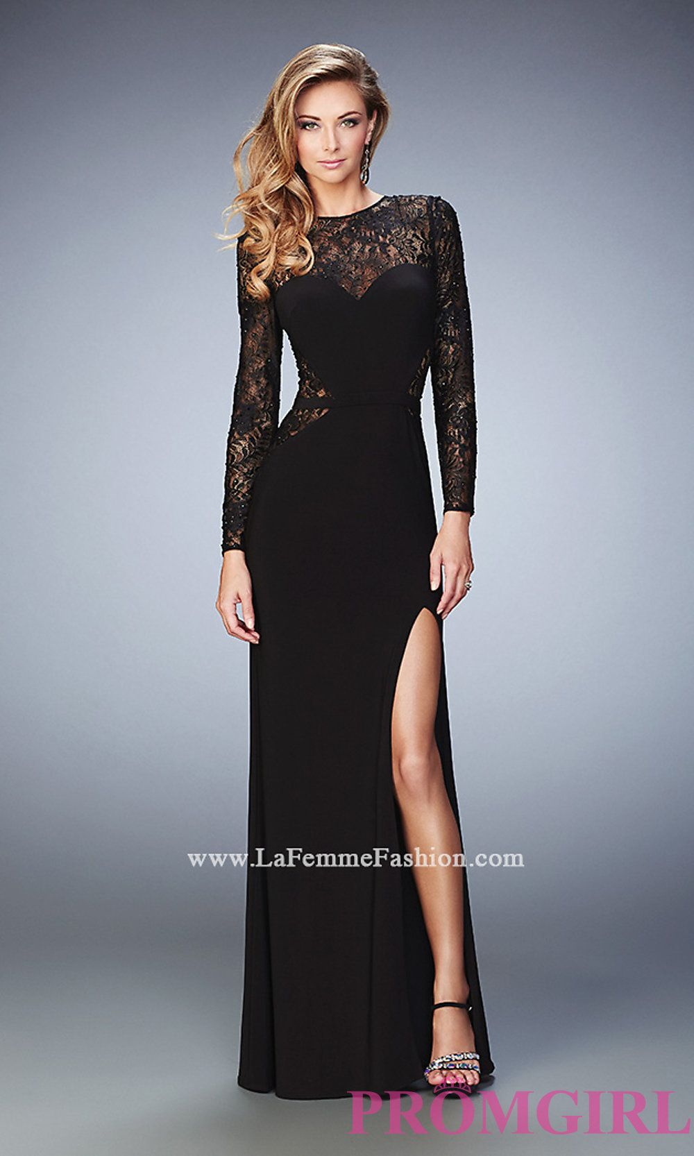 Black Long Prom Dress with Long Sleeves by La Femme Style: LF-22281 ...