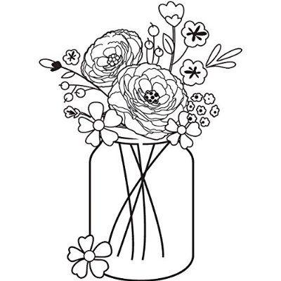 Cam Chloe Mounted Stamp 2 5 X2 Mason Jar Bouquet Flower