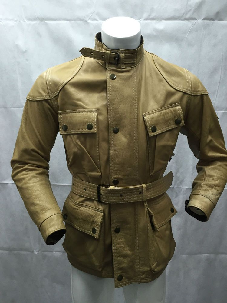 BELSTAFF PANTHER LEATHER Giubbino Giacca Jacket Coat Tg 44 Man Uomo M0503 CAMEL