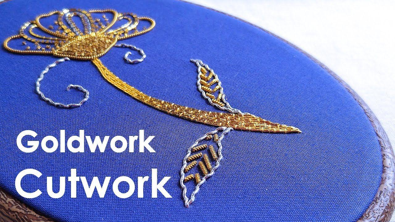Cutwork & finished piece. Goldwork embroidery for beginners. Goldwork em...