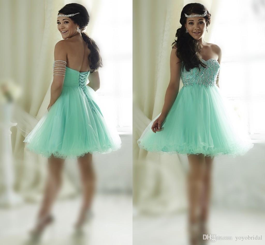 Light Green Summer Party Dress Wear 2016 Beaded Party Gowns Evening ...