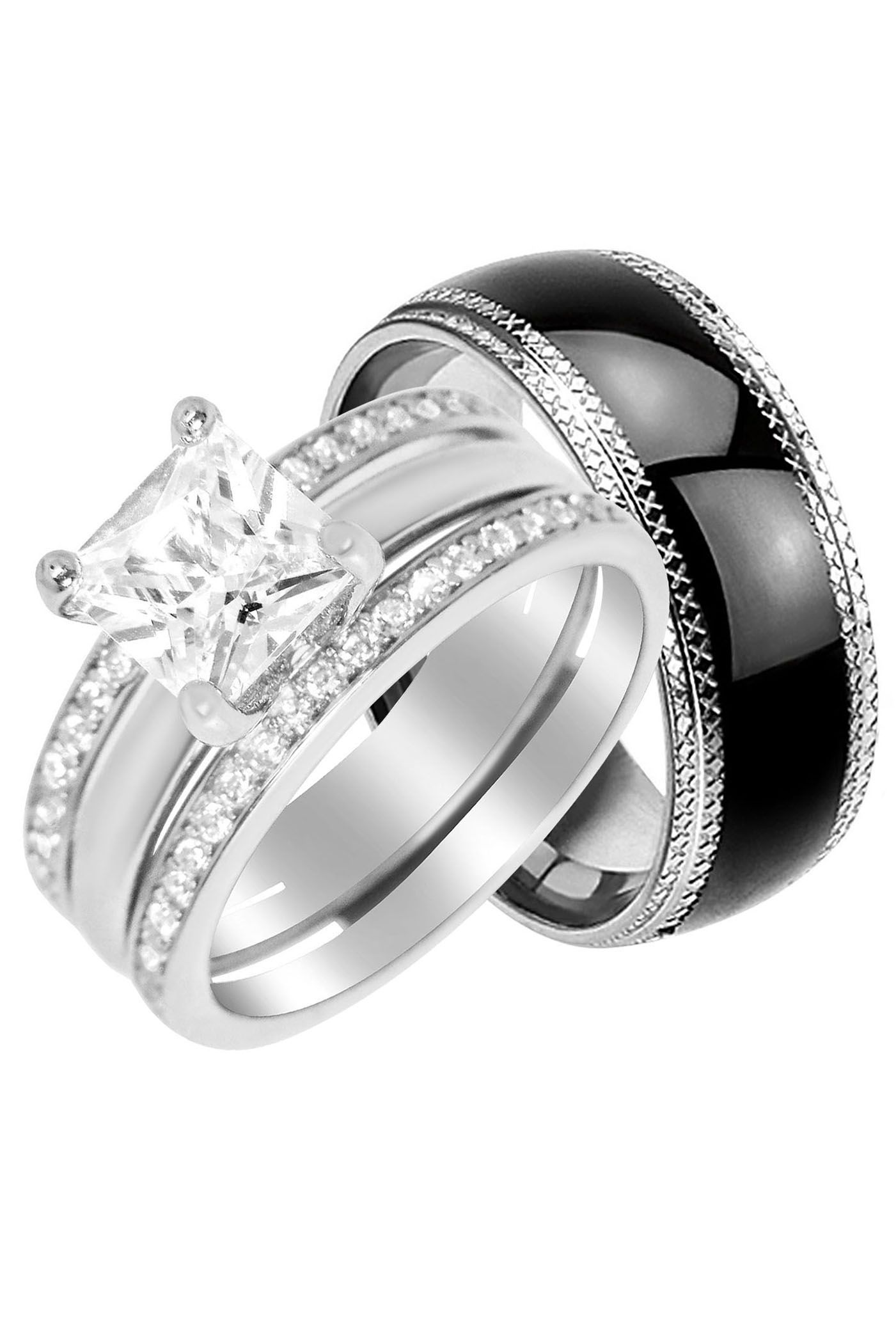 Laraso Co His Hers Silver Cz Bridal Wedding Ring Band Hers 6 His 9 Walmart Com In 2021 Wedding Rings Couple Wedding Rings Wedding Rings Sets His And Hers