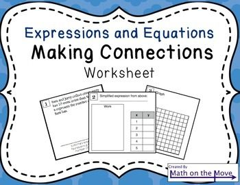 Expression and Equation - Enrichment Worksheet (7.EE.2 and 7.EE.3 ...