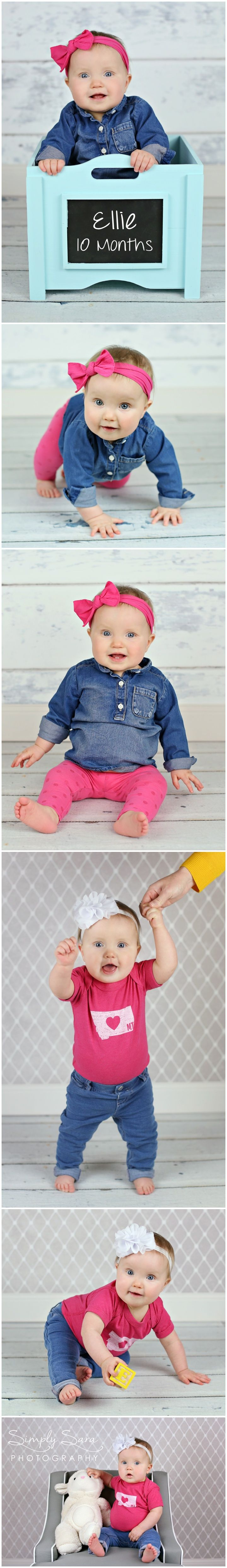 Indoor photo ideas poses 10 month old baby girl home studio chalkboard box prop billings mt family child photographer