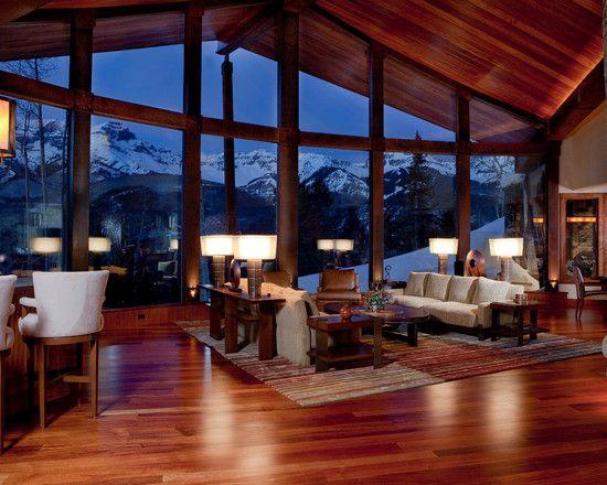 Powerful Living Room Interior Design Of Mountain Contemporary Cabin