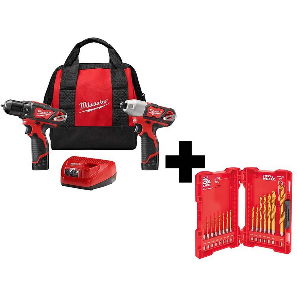 Milwaukee M12 12 Volt Lithium Ion Cordless Drill Driver Impact Driver Combo Kit 2 Tool With Titanium Drill Bit Set 15 Piece 2494 22 48 89 4630 Drill Driver Impact Driver Cordless Drill