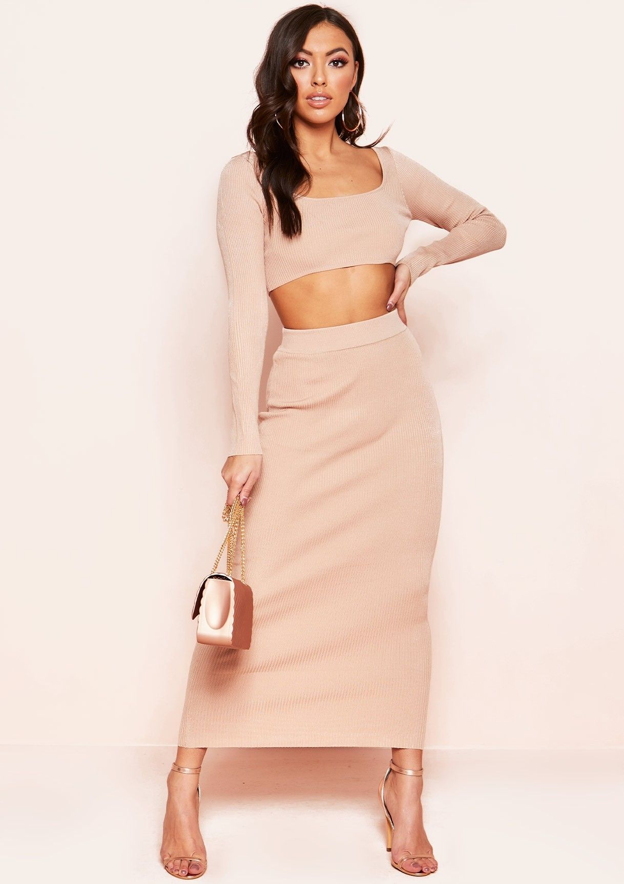 Missyempire - Cami Nude Knit Ribbed Co-ord Set a033a4c3a