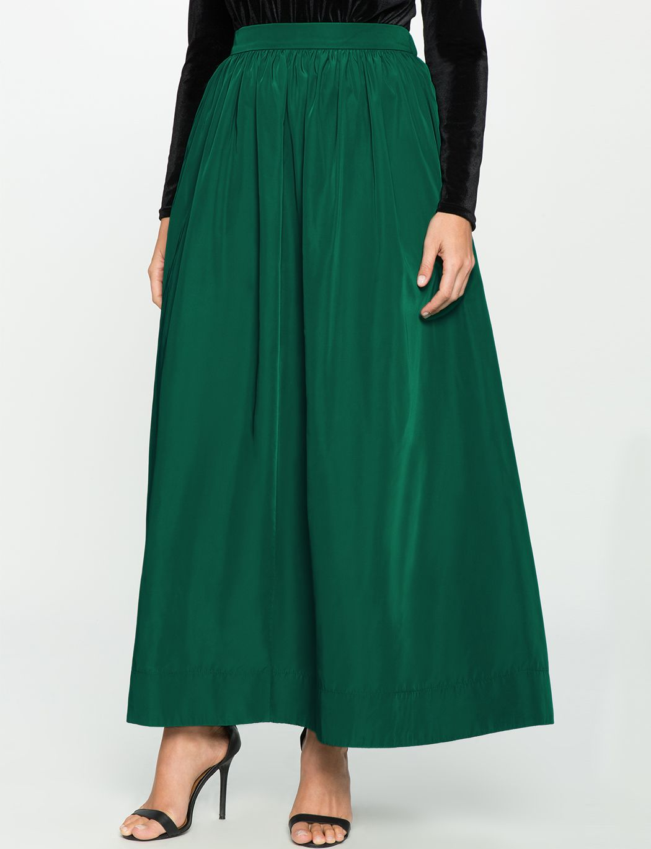 c94db2b1203 Eloquii Taffeta Full Maxi Skirt in Emerald