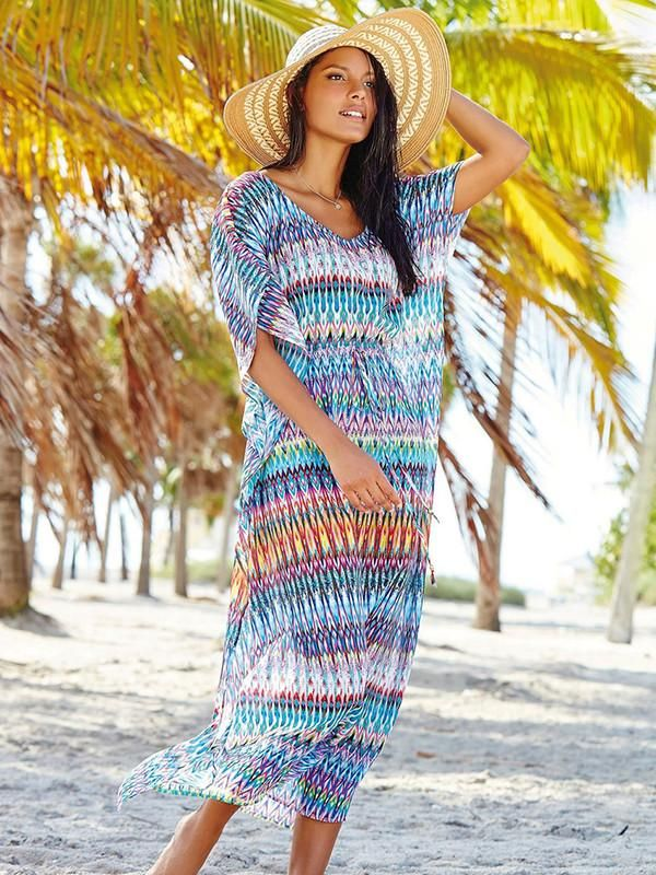 Pretty Colorful Half Sleeve Bohemia Maxi Beach Dress