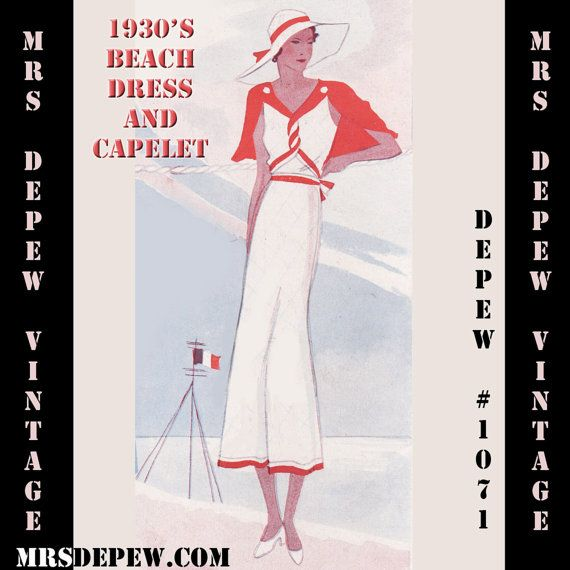 Vintage Sewing Pattern 1930\'s Beach Dress and Cape in Any Size Depew ...