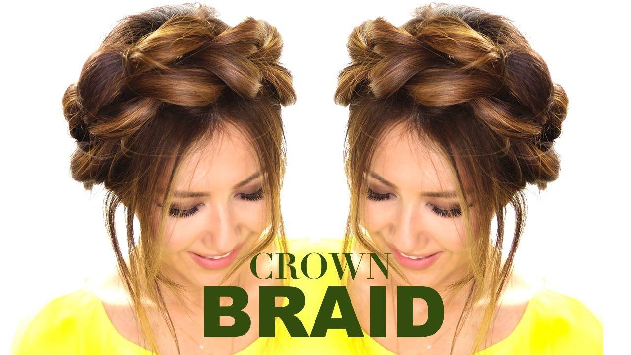 Pullthrough crown braid updo hair tutorial easy braids