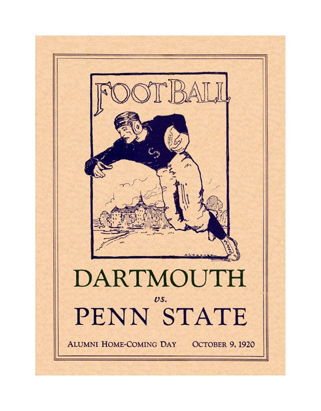 1920 Penn State Nittany Lions vs Dartmouth Big Green 36 x 48 Canvas ...