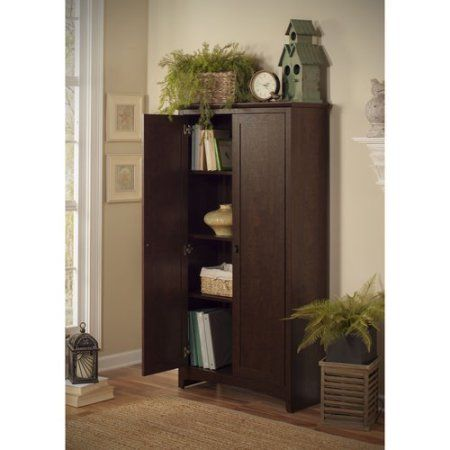 Bush Furniture Buena Vista 2Door Tall Storage Cabinet Madison Mesmerizing Living Room Storage Cabinets Inspiration Design