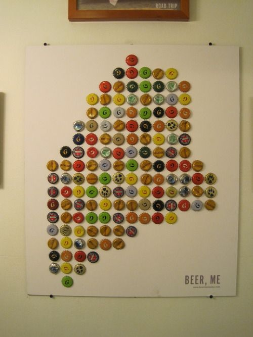 Maine Beer Bottle Cap Map I Could Make A Michigan One - Michigan bottle cap map