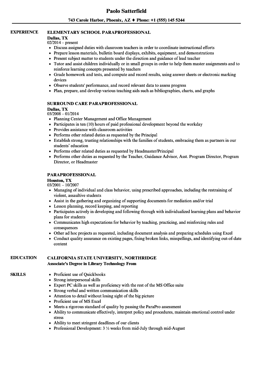 Image result for resume for teaching paraprofessional