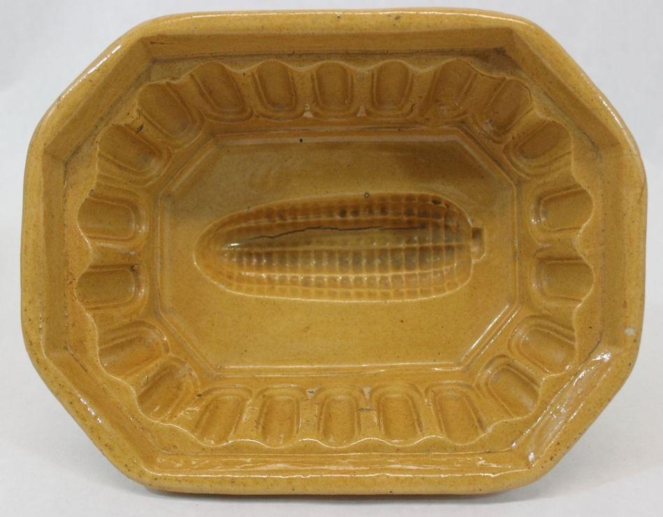 Antique 19thC CORNBREAD New England Primitive Folk Art Yellow Ware Food Mold