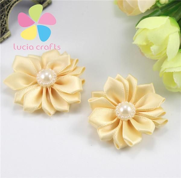40mm Floral Pearl ribbon flower Handmade appliques Craft ribbon flower decoration accessories 2pcs/12pcs 012004021