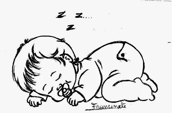 desenho bebe menina dormindo com chupeta para pintar